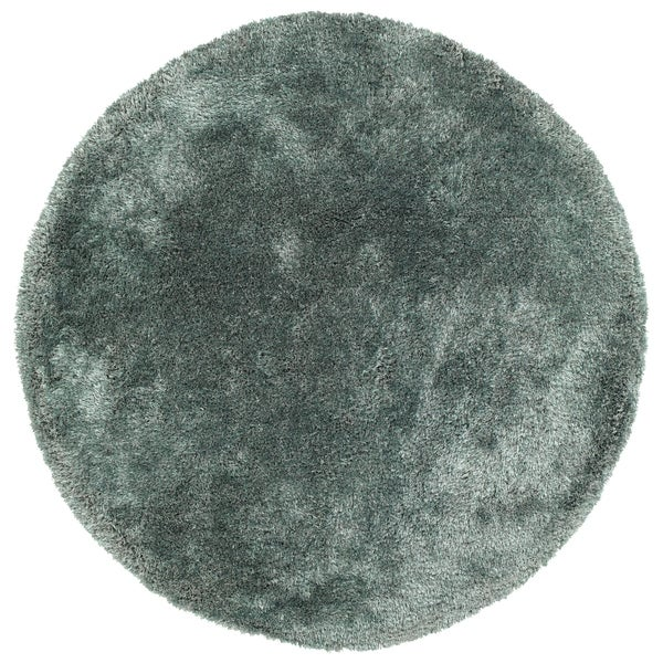 Hand-Tufted Silky Shag Mint Polyester Round Rug - 4' x 4'