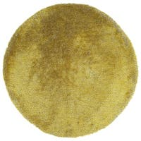 Hand-Tufted Silky Shag Lime Green Polyester Round Rug - 4' x 4'