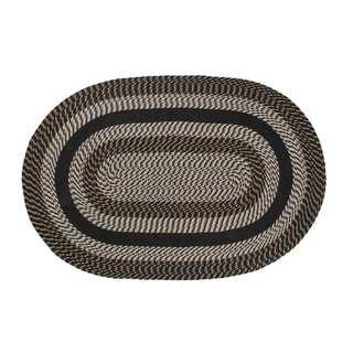 Better Trends Newport Black Braided Rug - 5' x 8' Oval