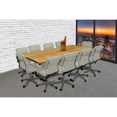 SOLIS Castillo 11-Piece Solid Wood Conference Table Set with Taupe Padded Low Back Bonded Leather Office Chairs