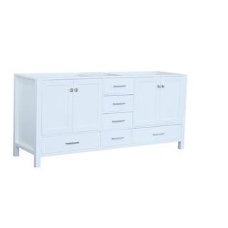 Ariel Cambridge 72 In. Double Sink Base Cabinet In White