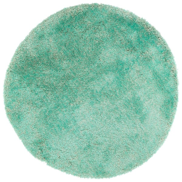 Hand-Tufted Silky Shag Turquoise Polyester Round Rug - 4' Round