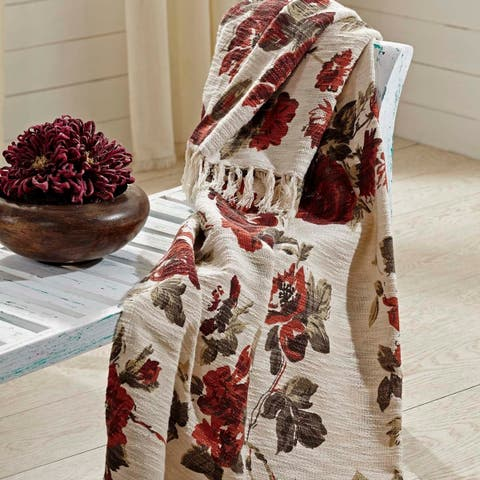 White Farmhouse Decor VHC Mariell Throw Cotton Floral - Flower Knotted Tassels Textured