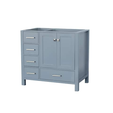Ariel Cambridge 36 In. Right Offset Single Sink Base Cabinet In Grey