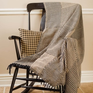 Sampler Black Tan Woven Throw
