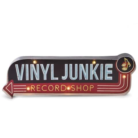 """""""Vinyl Junkie"""" Metal Sign"""