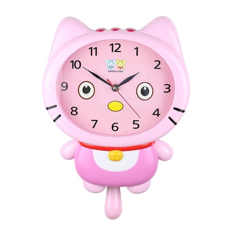 "Three Star Kid's Wall Clock, 15"" Pink Cat (Pink) (Plastic)"