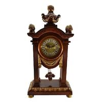 Brown & Gold Table Clock w/ Pendulum, 20""