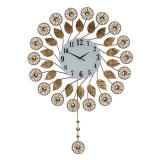Round Bejeweled Copper Metal Wall Clock with Pendulum, 37x26