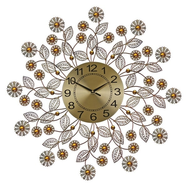 """Metal Wall Clock, 27"""" Copper Finish Flowers Bejeweled w/ Amber Stones"""