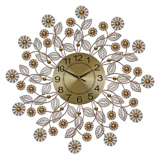 "Metal Wall Clock, 27"" Copper Finish Flowers Bejeweled w/ Amber Stones"
