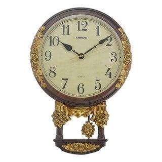 """Jeweled Brown & Gold Polyresin Wall Clock w/ Pendulum, 17"""""""