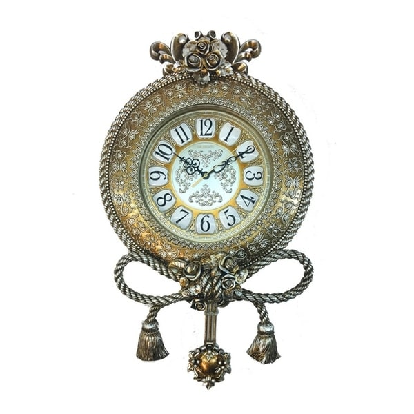 Jeweled Round Silverish Gold Polyresin Wall Clock w Pendulum