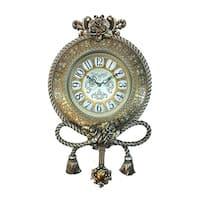 "Jeweled Round Silverish Gold Polyresin Wall Clock w/ Pendulum & Tassels, 25"""