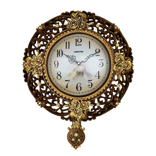 Jeweled Round Brown & Gold Polyresin Wall Clock w/ Pendulum, 17""