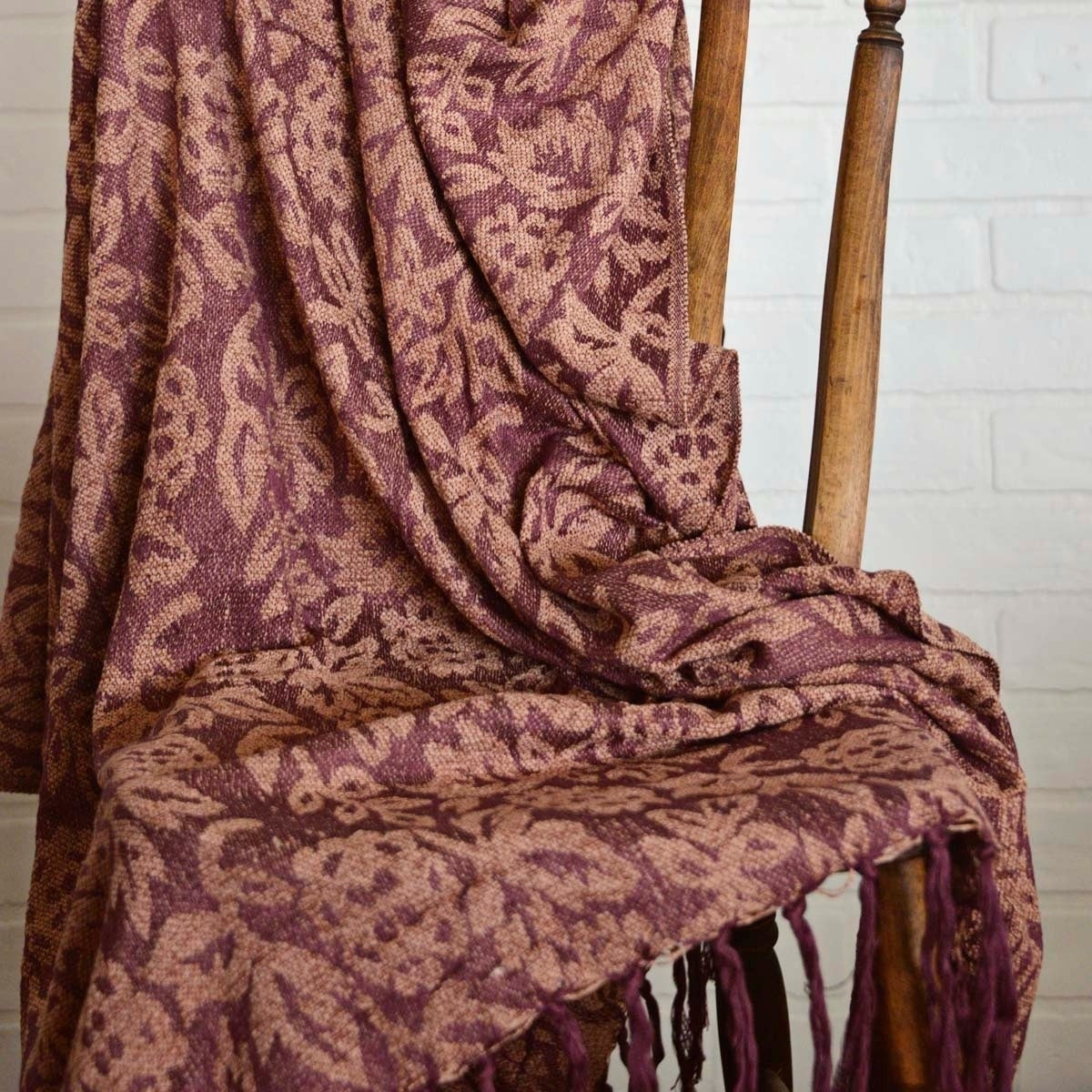 VHC Brands Berkeley Chenille Jacquard Woven Throw, Pink
