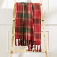 Red Rustic Christmas Holiday Decor VHC Whitton Throw Cotton Plaid Knotted Tassels