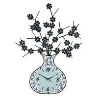 """Metal Wall Clock, Black Vase with Flowers and Blue Acrylic Stones, 29"""""""