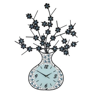 Metal Wall Clock, Black Vase with Flowers and Blue Acrylic Stones, 29""