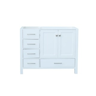 Ariel Cambridge 42 In. Right Offset Single Sink Base Cabinet In White