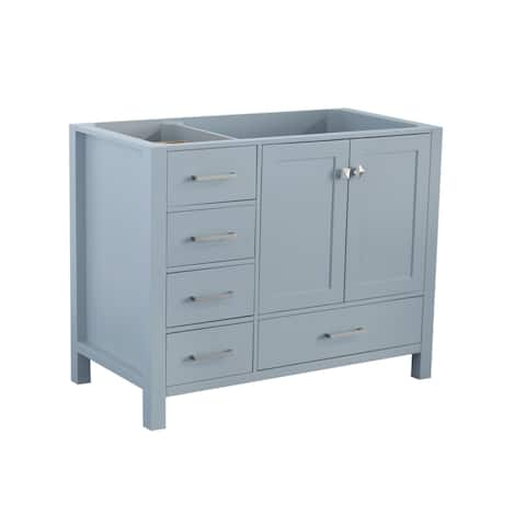 Ariel Cambridge 42 In. Right Offset Single Sink Base Cabinet In Grey