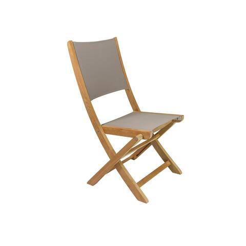 Stella Teak Outdoor Folding Chair with Textilene Fabric