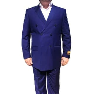 Roy Bradley 52L Mens Double Breasted Wool Suit in Purple|https://ak1.ostkcdn.com/images/products/18084187/P24244305.jpg?impolicy=medium
