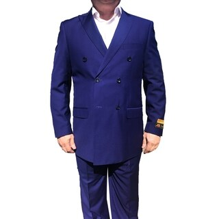 Roy Bradley 52L Mens Double Breasted Wool Suit in Purple