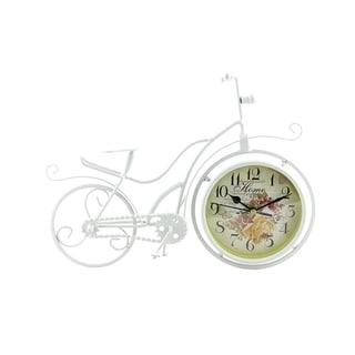 "Metal White Bicycle Table Clock, 13"""