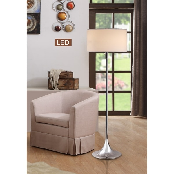 "Artiva Florenza 63"" Moden Chrome 2-light LED Floor lamp w/ Dimmer"