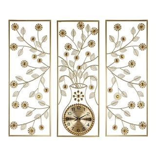 3 Piece Set of Wall Décor & Clock Set with Gold Finish Vase & Flowers, 37.5x14