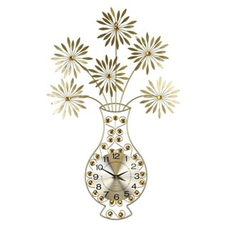 """Metal Wall Clock Gold Vase & Flowers Bejeweled w/ Amber Acrylic Stones, 37"""""""