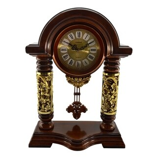 "Brown & Gold Table Clock w/ Pendulum, 14"""