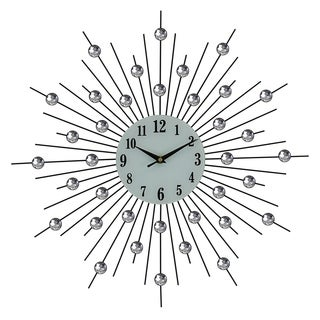 Black Spikes Metal Wall Clock Bejeweled w/ Clear Acrylic Stones, 20""