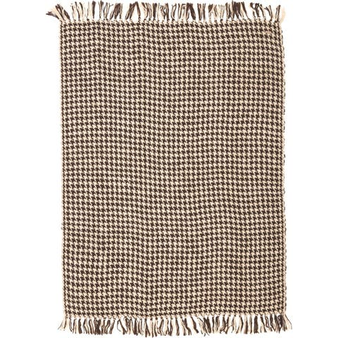Brown Rustic Decor VHC Carrington Throw Acrylic Houndstooth Knotted Tassels