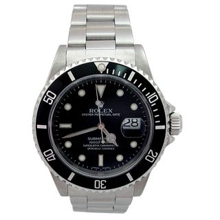 Pre-owned 40mm Rolex Stainless Steel Oyster Perpetual Submariner Watch with Black Dial