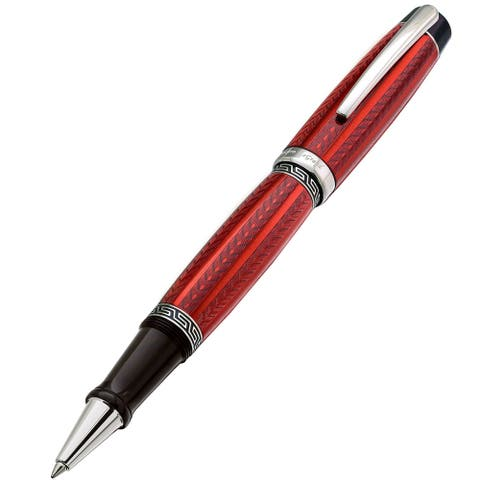 Xezo Maestro LeGrand Diamond Cut, Lacquered, Platinum Plated Fine Rollerball Pen in Rhodochrosite Co