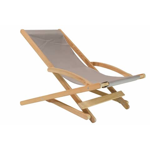 Stella Teak Folding Outdoor Relaxing Chair with Textilene Fabric