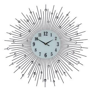 "Bejeweled Round Black & Silver Spokes Metal Wall Clock, 27"""