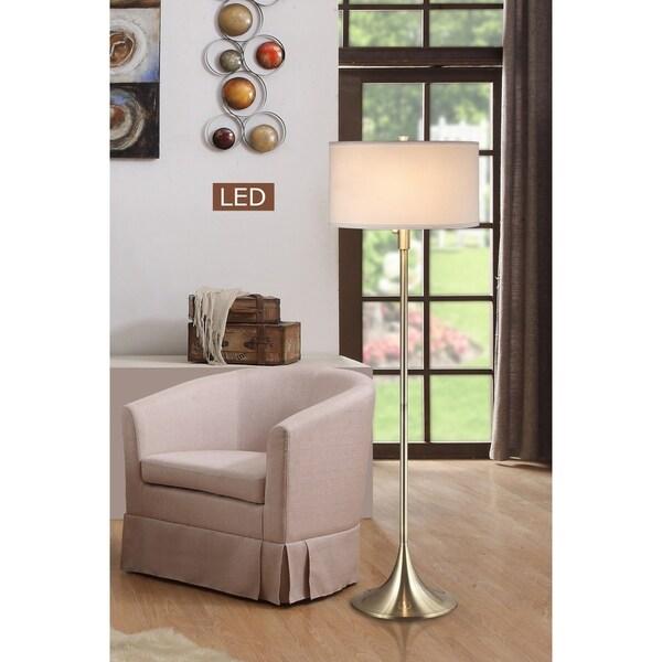 """Artiva Florenza 63"""" Antique Brass 2-light LED Floor lamp w/ Dimmer"""