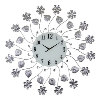 Round Silver Metal Floral Style Wall Clock, 27""