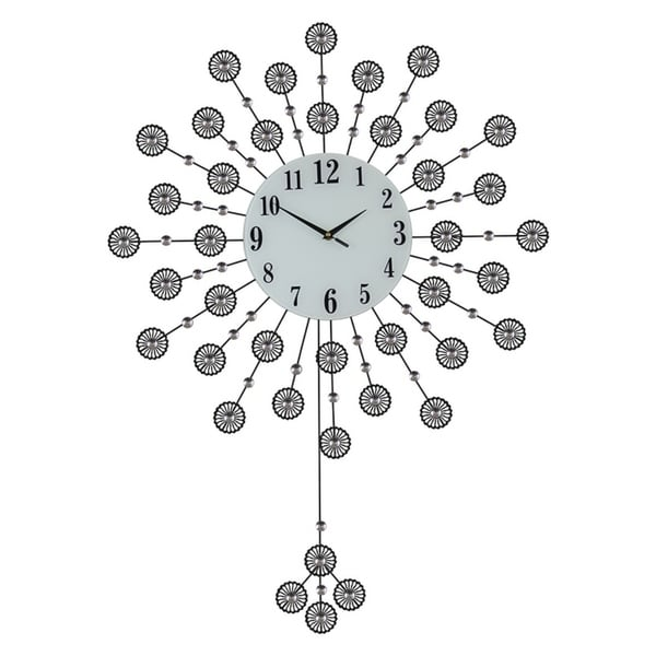 Round Bejeweled Black Metal Floral Wall Clock with Pendulum, 37x27