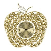 Golden Apple Metal Wall Clock Bejeweled w/ Clear Acrylic Stones, 24x24