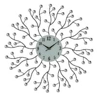 """Abstract Style Bejeweled Round Metal Wall Clock, 20"""""""