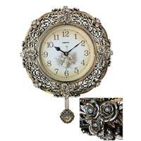 "Jeweled Round Silverish Gold Polyresin Wall Clock w/ Pendulum, 26"""