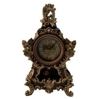 """Jeweled Brown & Gold Polyresin Table Clock w/ Pendulum, 14"""""""