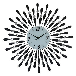 Round Black & Silver Spokes Metal Wall Clock, 24""