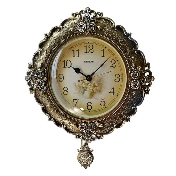 Round Silverish Gold Polyresin Wall Clock w Pendulum 20 Free