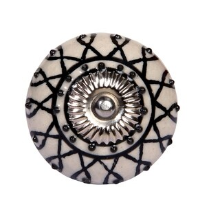 Luxe Collection - Ethnic Hand Painted Ceramic Knob- Set of 2 pcs - White