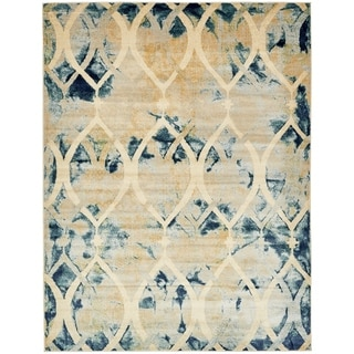 Turkish Ethereal Navy Blue/Cream Polypropylene Transitional Abstract Area Rug (9' x 12')
